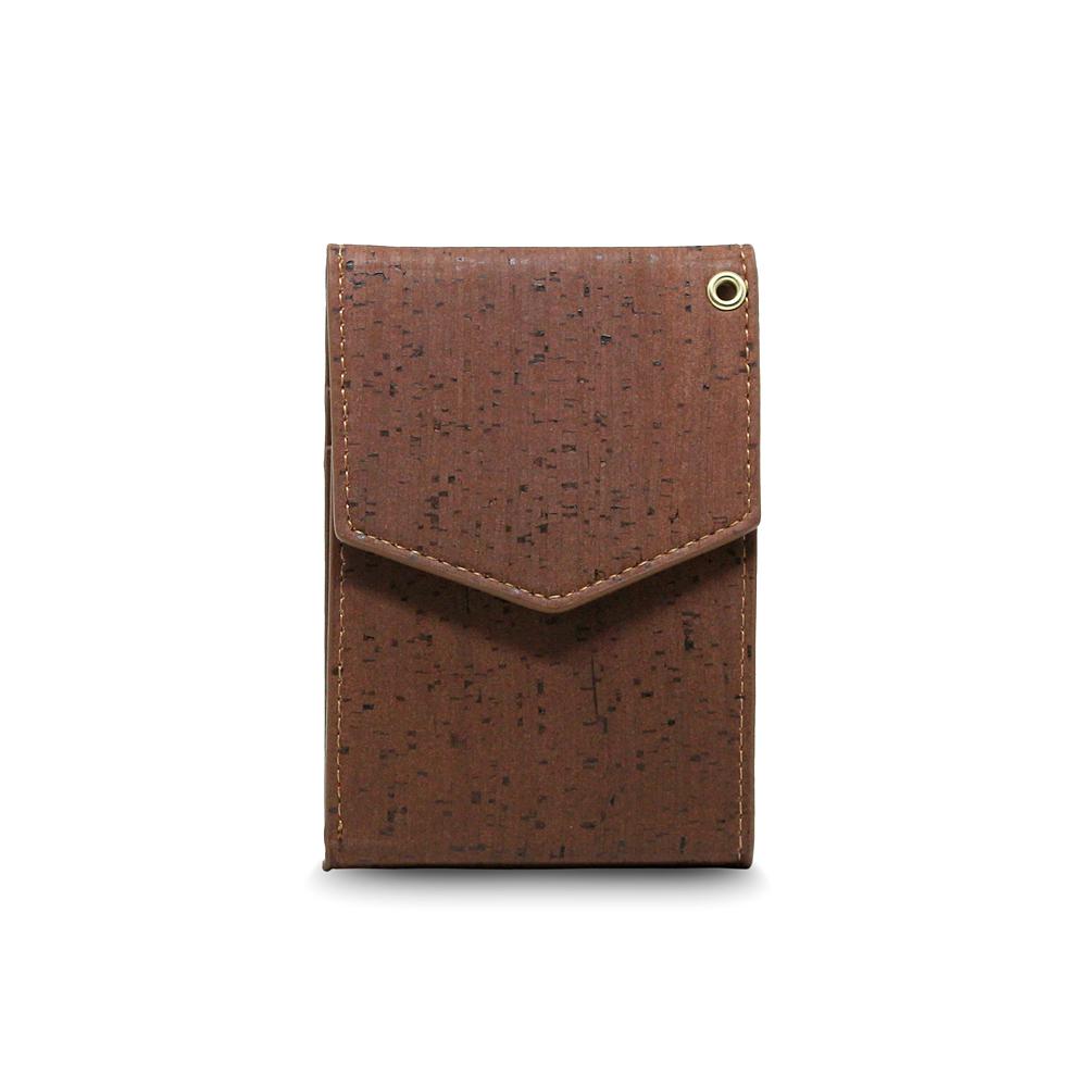 CORCO|簡約掛頸軟木皮夾 - 酷深棕(含掛繩)