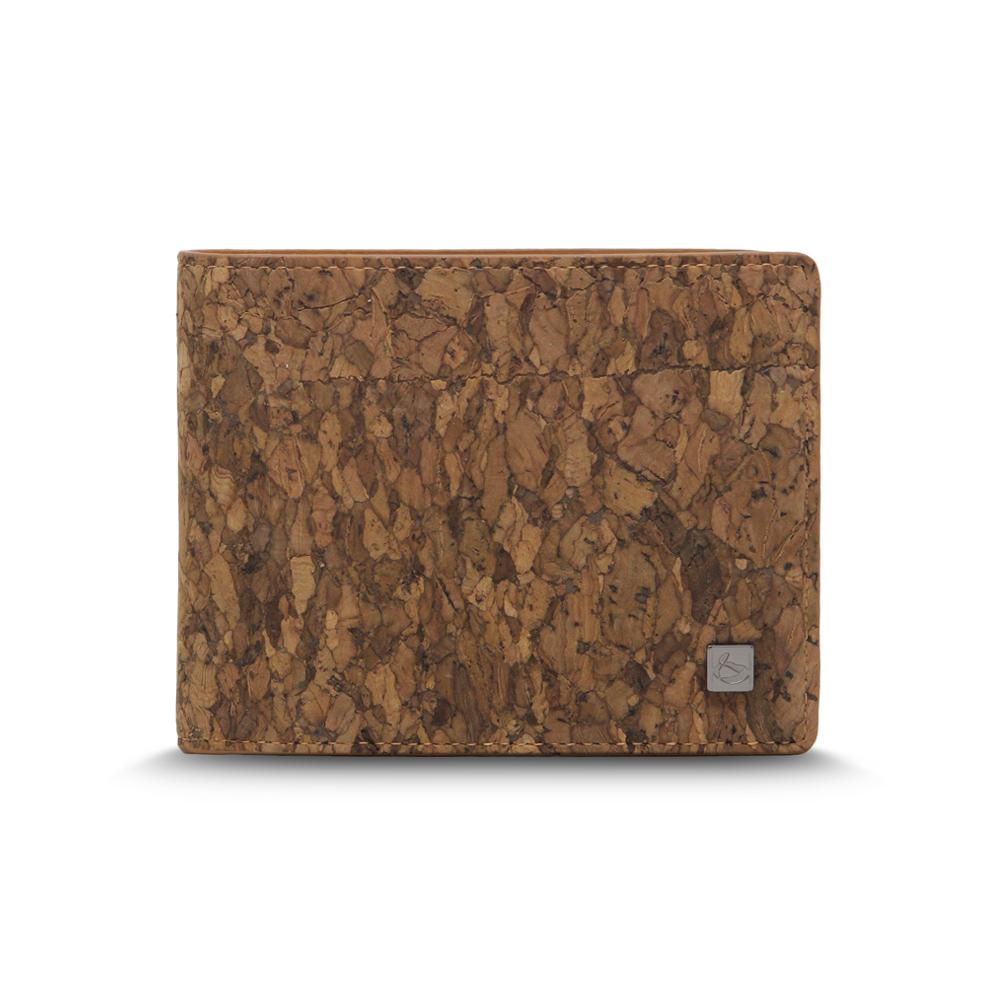CORCO|零錢袋軟木短夾 - 塊紋棕