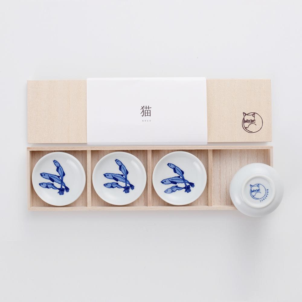 石丸波佐見燒 小魚乾豆皿禮盒(4件組)