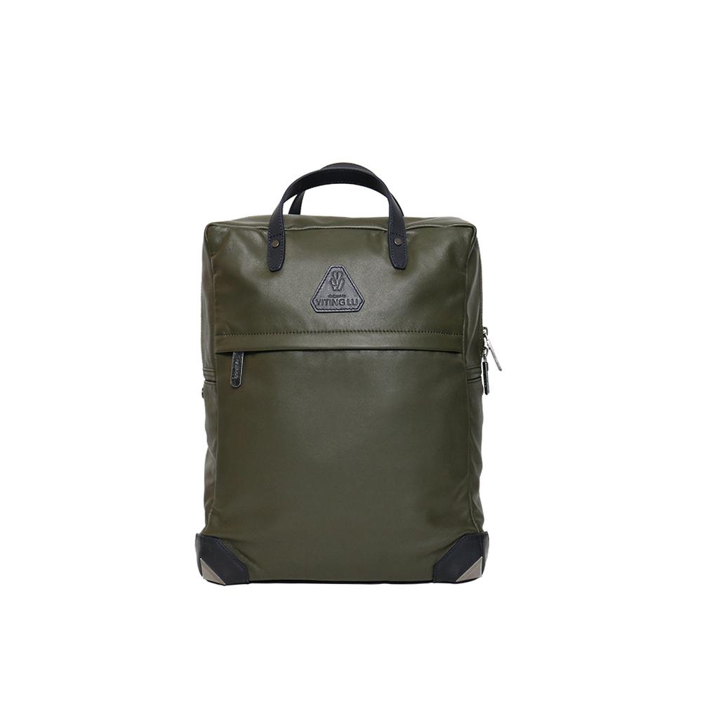 HANDOS|HERRY L. 皮革後背包 - 墨綠