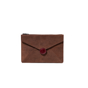 HANDOS|Envelope 真皮信封手拿包 - 深咖