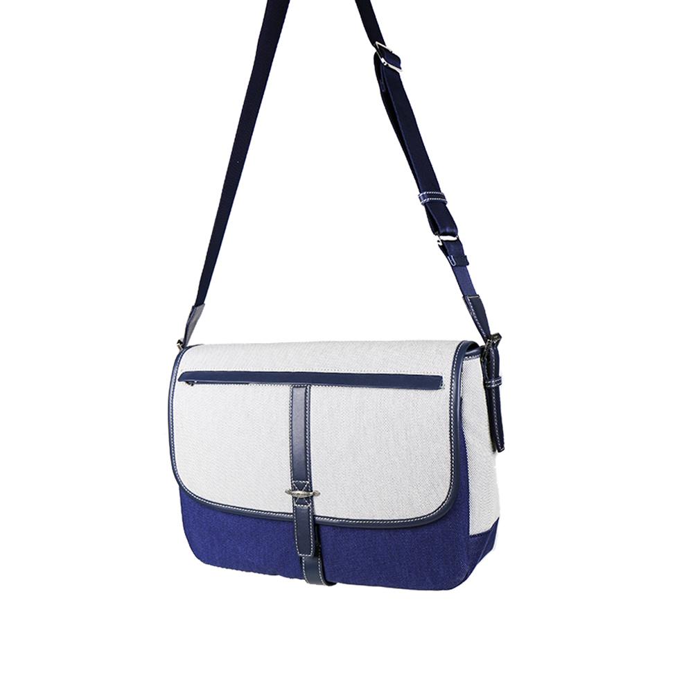 HANDOS|Jo March 雙色織線帆布書包 - 大海藍