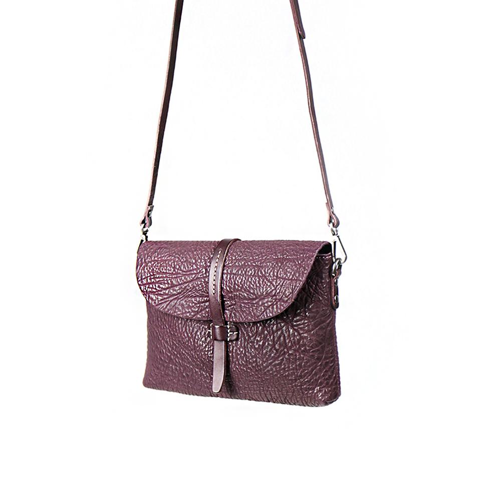 HANDOS|Margarita 縮皺肩背手拿兩用包 - 紫紅