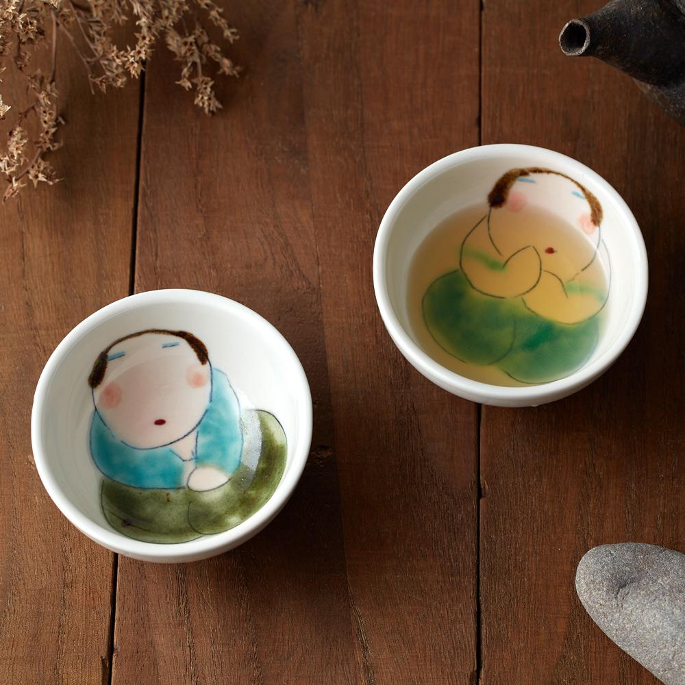 吳仲宗 胖太太系列 - 小圓杯 - 月夜薄紗藍 (雙件組)
