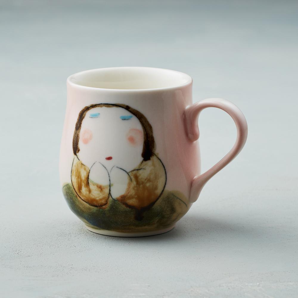 吳仲宗 胖太太系列 - 馬克杯 - 妃紅粉 (棕咖衣)