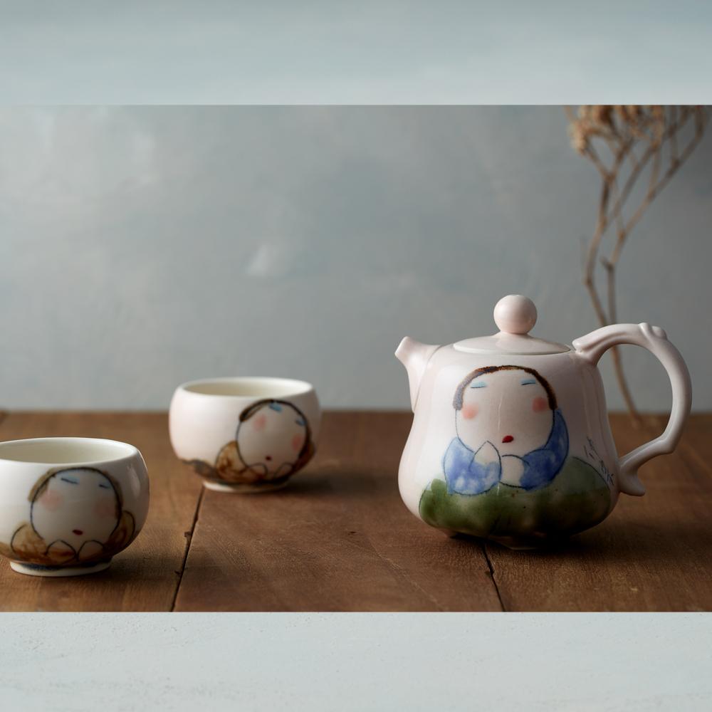 吳仲宗|胖太太系列 - 福祿平安茶組 - 藕粉 (三件式)