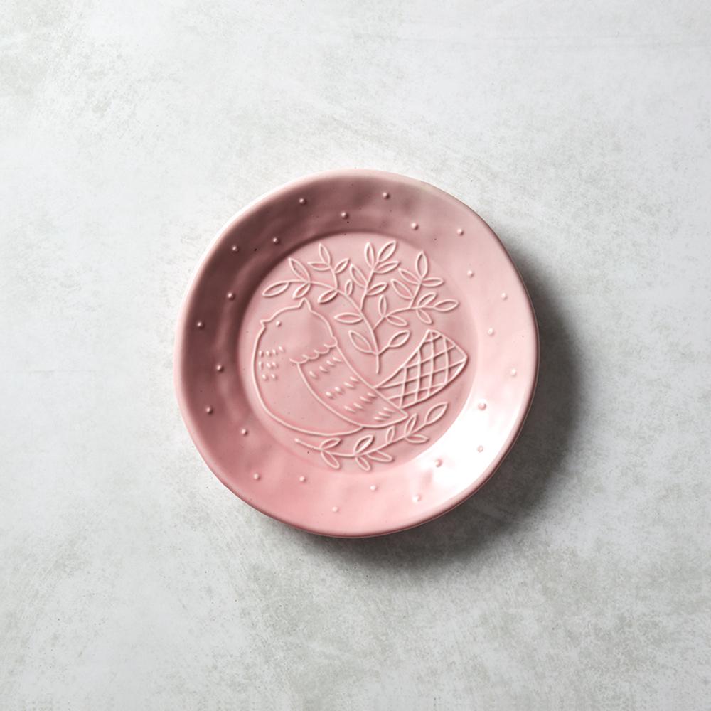 石丸波佐見燒 森之歌圓鳥盤 - 櫻粉