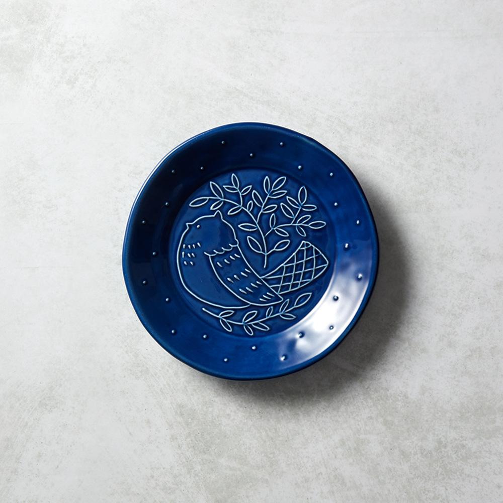 石丸波佐見燒|森之歌圓鳥盤 - 湛藍