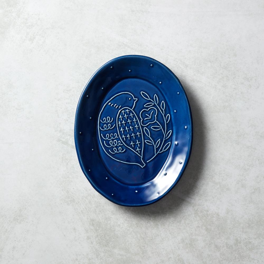 石丸波佐見燒|森之歌橢圓鳥盤 - 湛藍