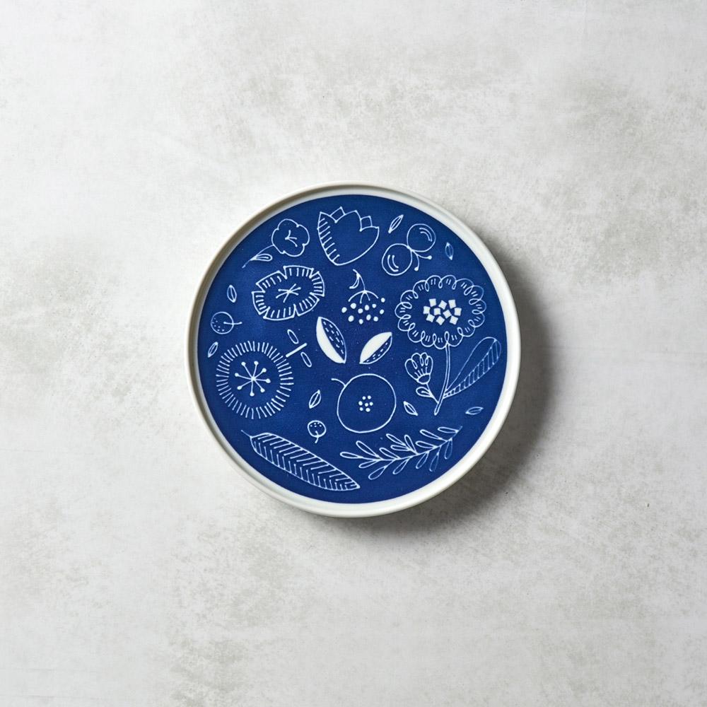 石丸波佐見燒|北歐花園淺盤 (小) - 湛藍