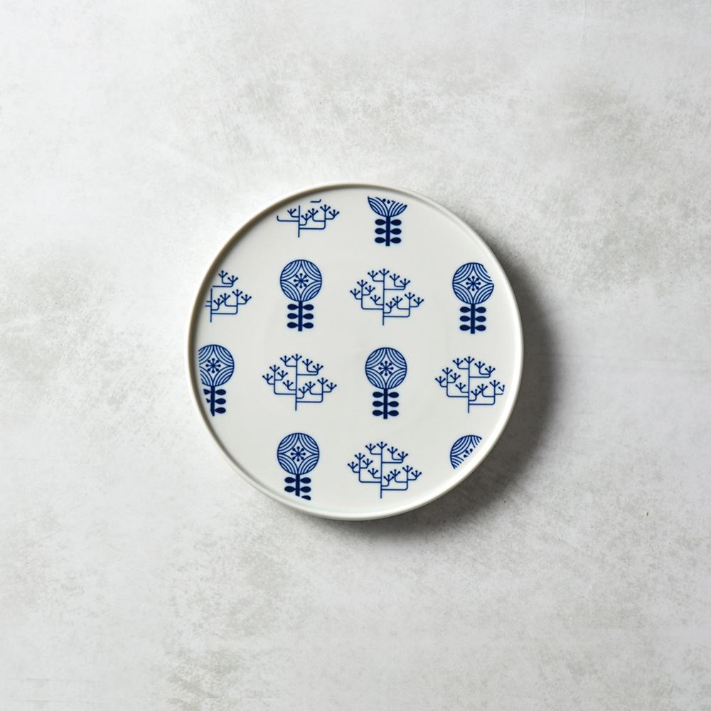 石丸波佐見燒|北歐花園淺盤 (小) - 樺木白
