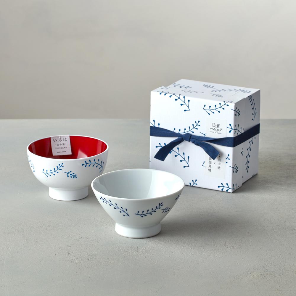 石丸波佐見燒|藍繪小草 - 漆器碗禮盒 (2件組)