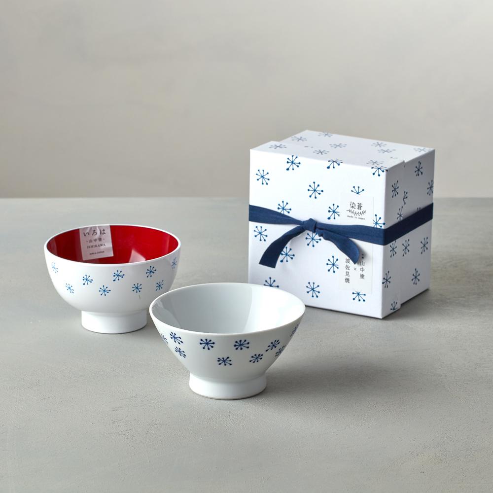 石丸波佐見燒|藍繪雪花 - 漆器碗禮盒 (2件組)