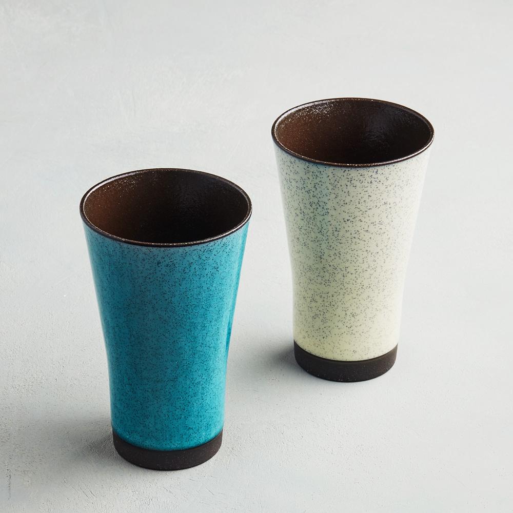 日本AWASAKA美濃燒|清風沫雪長陶杯組 (2件式)