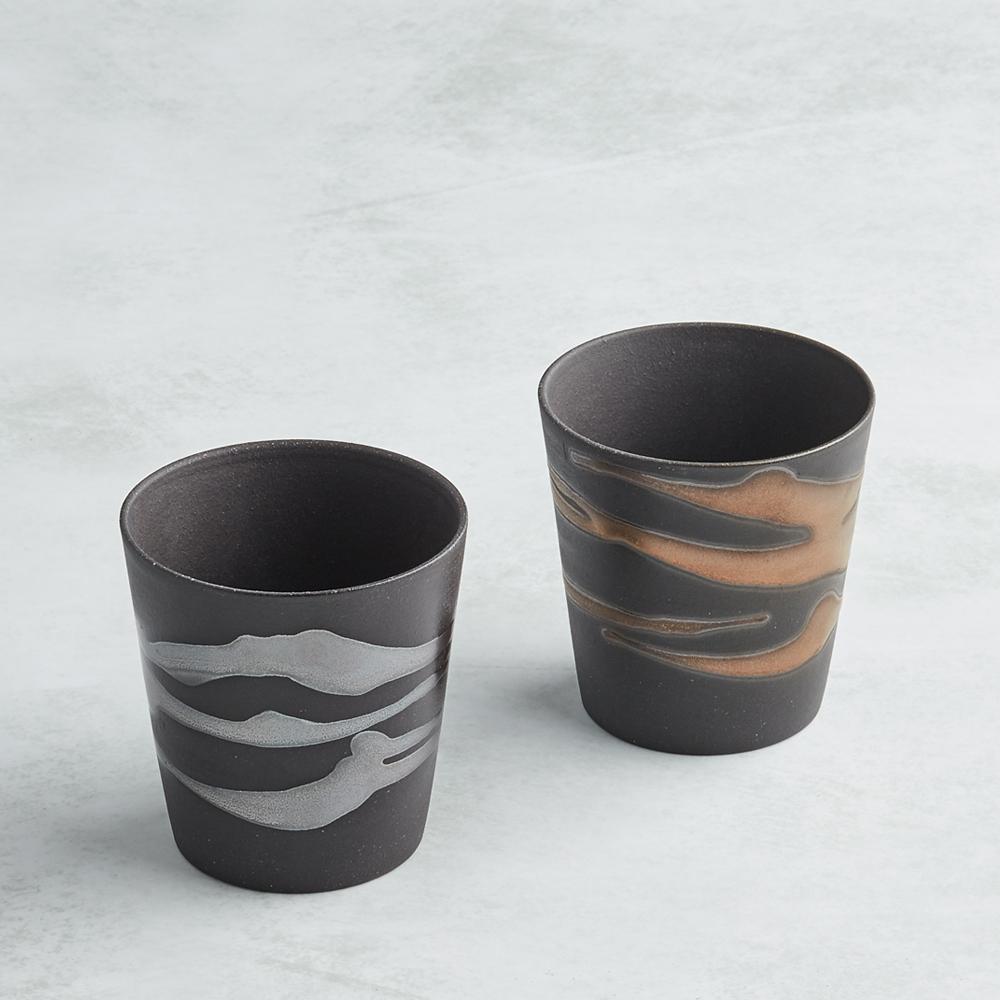 日本AWASAKA美濃燒|金銀流暢飲陶杯組 (2件式)