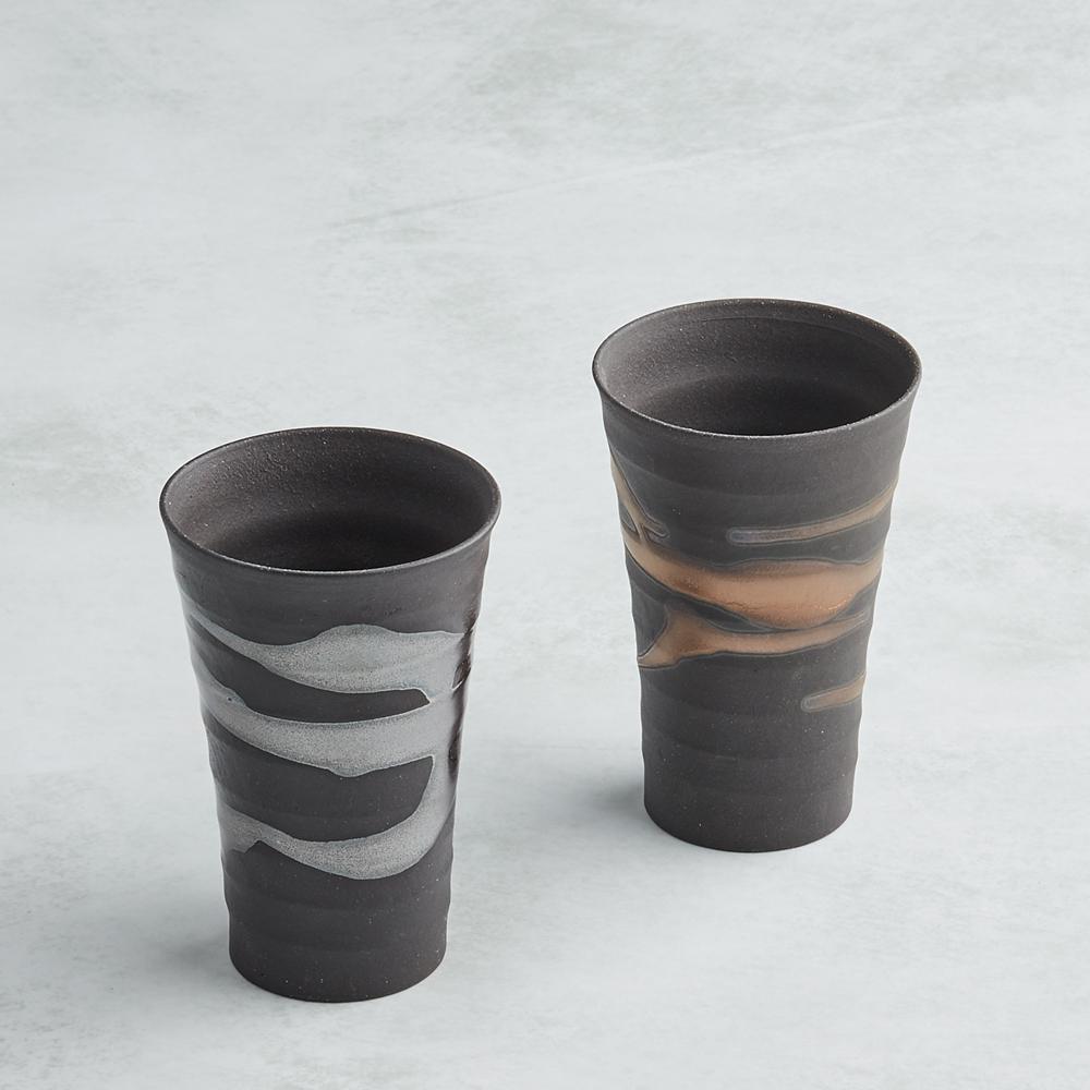 日本AWASAKA美濃燒|金銀流微醺長陶杯組 (2件式)