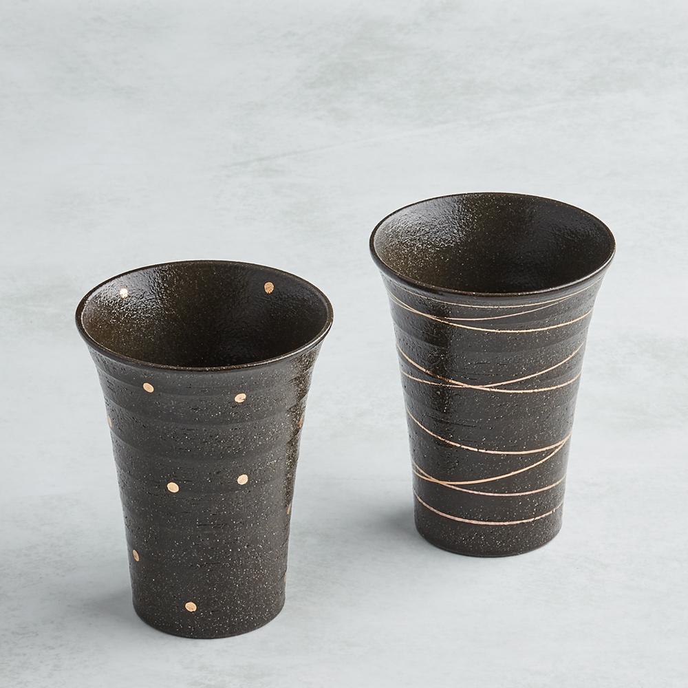 日本AWASAKA美濃燒|手描燙金燒酒陶杯組 (2件式)
