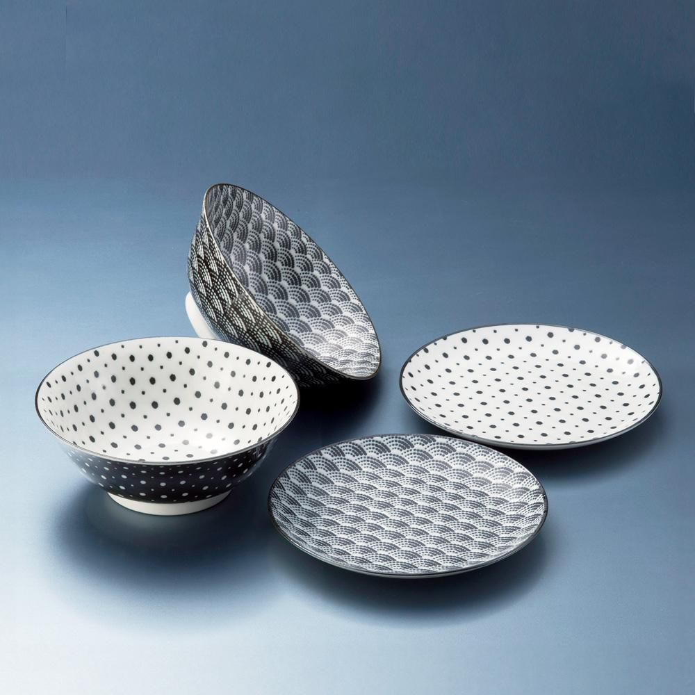日本AWASAKA美濃燒|小紋碗碟組 (4件式)