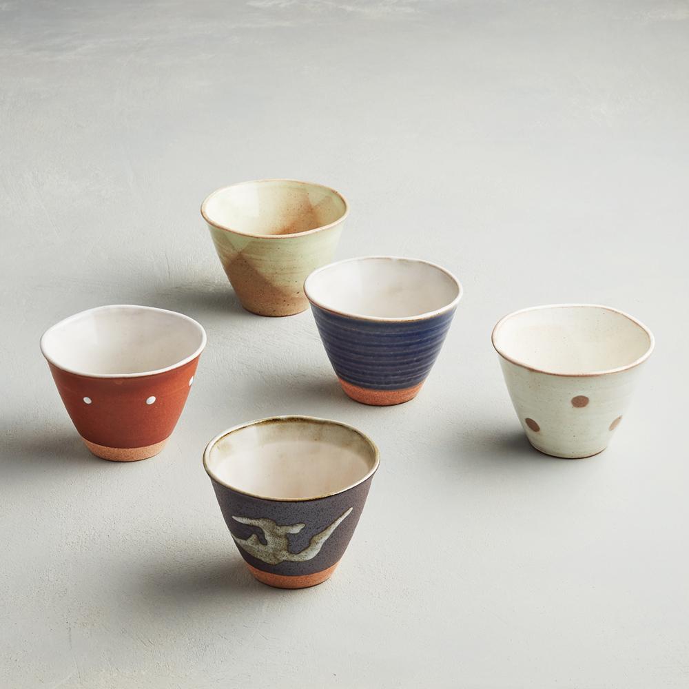 日本AWASAKA美濃燒|古窯釉彩陶杯組 (5件式)