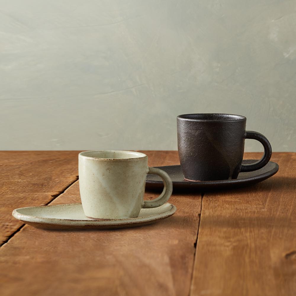 丸伊信樂燒 白夜咖啡對杯組(4件式)