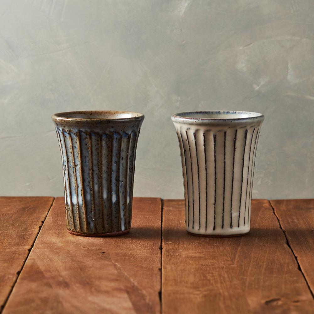 丸伊信樂燒|釉燒雕紋長杯組(2件式)