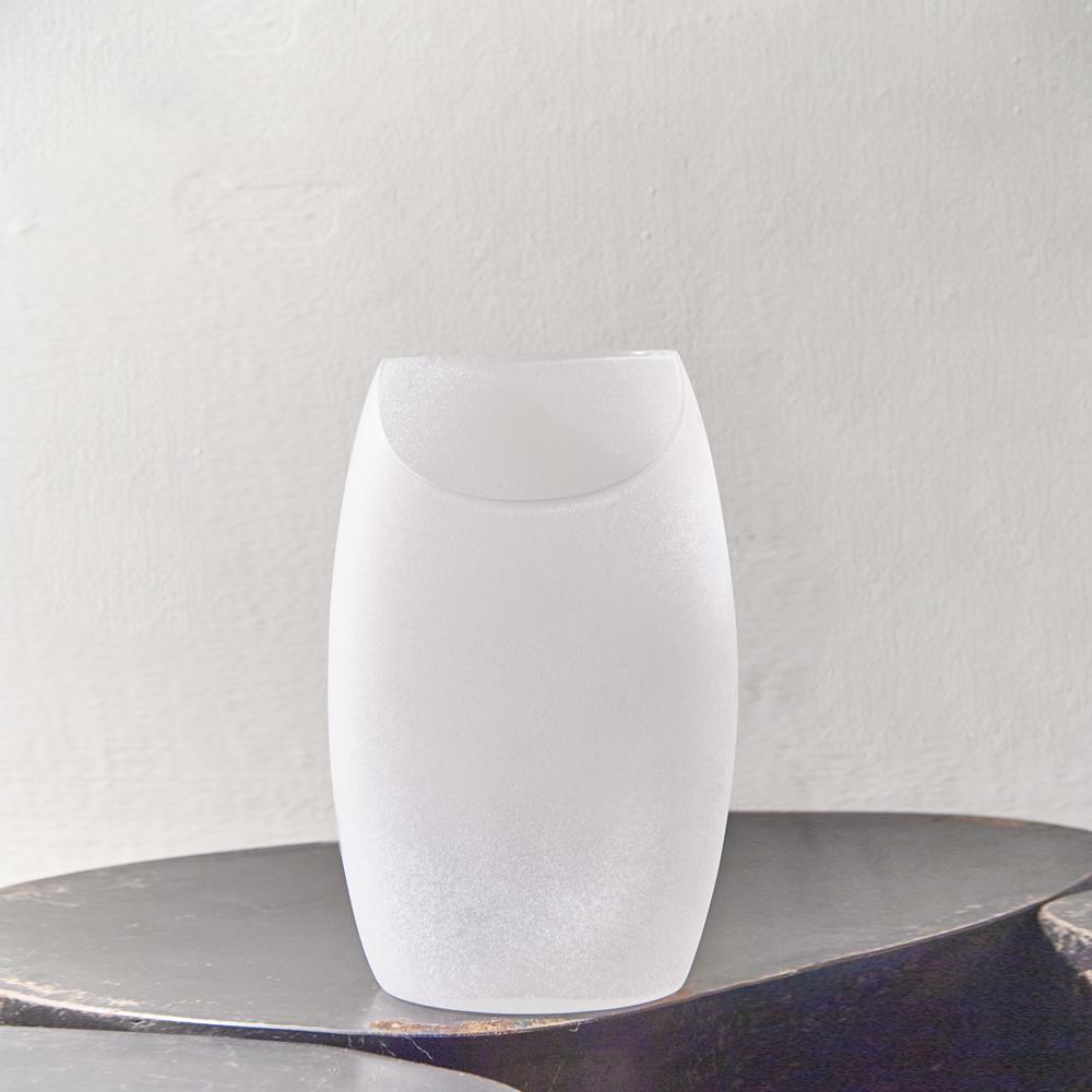 3,co|玻璃月型口扁平花器(8號) - 白