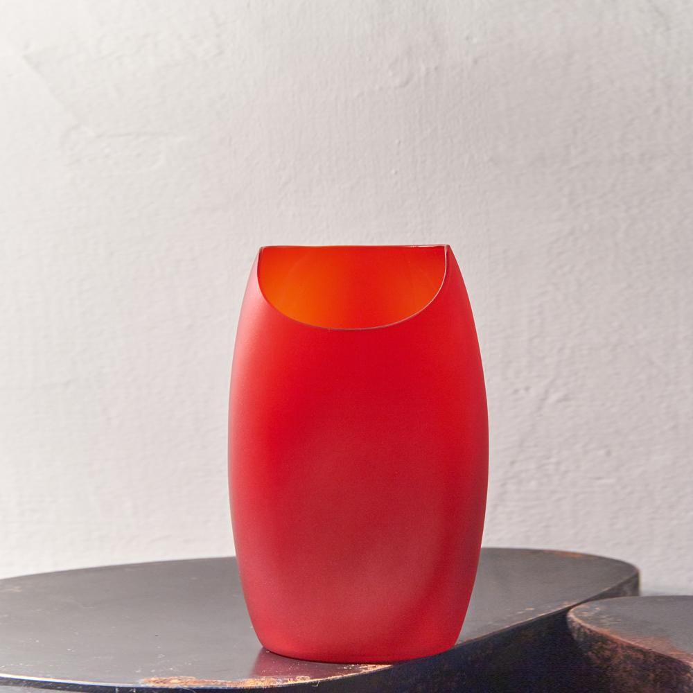 3,co|玻璃月型口扁平花器(8號) - 紅
