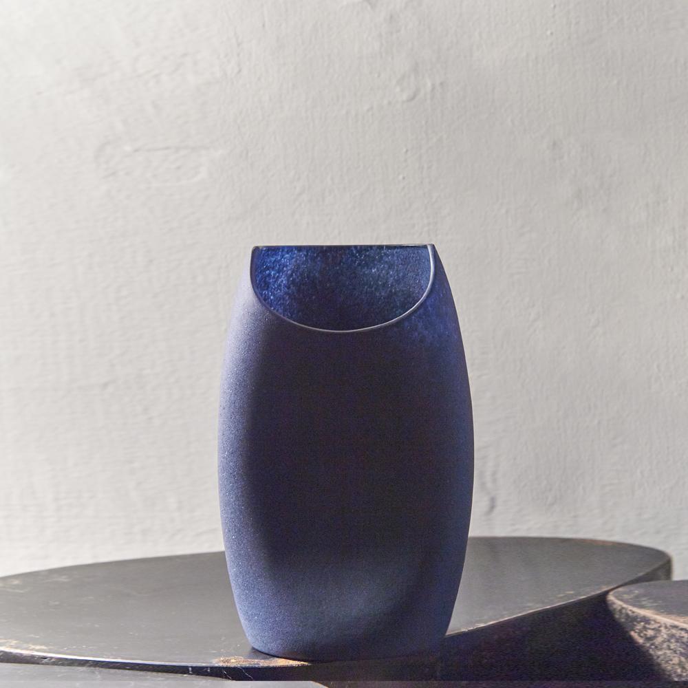 3,co|玻璃月型口扁平花器(8號) - 藍