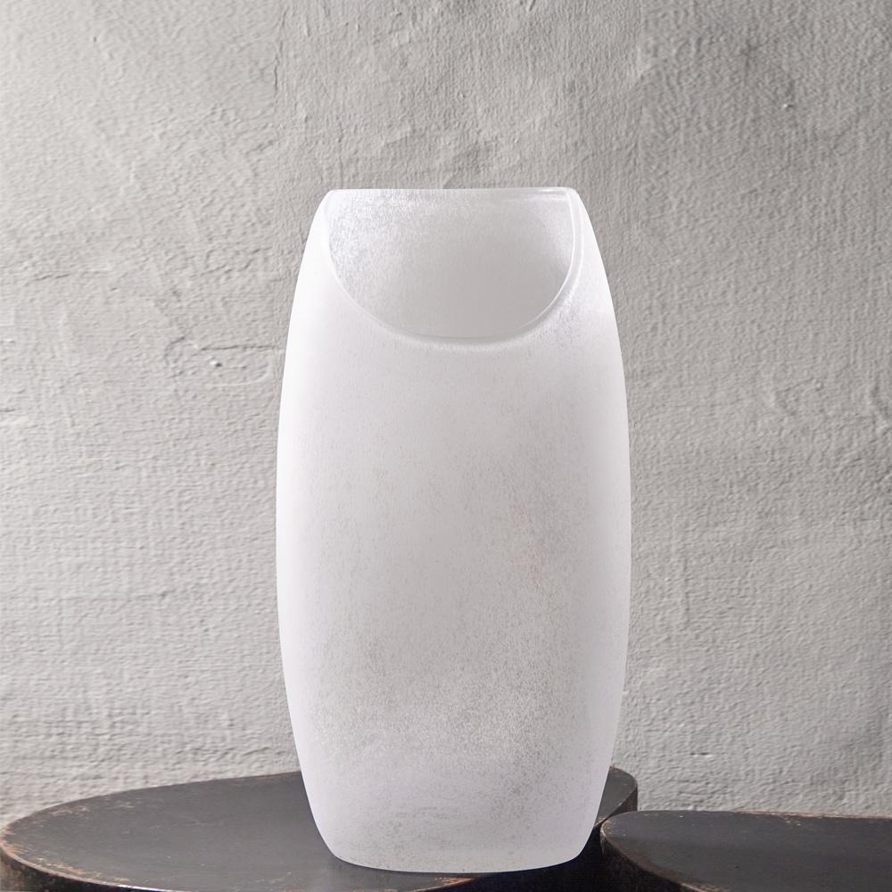 3,co|玻璃月型口扁平花器(9號) - 白