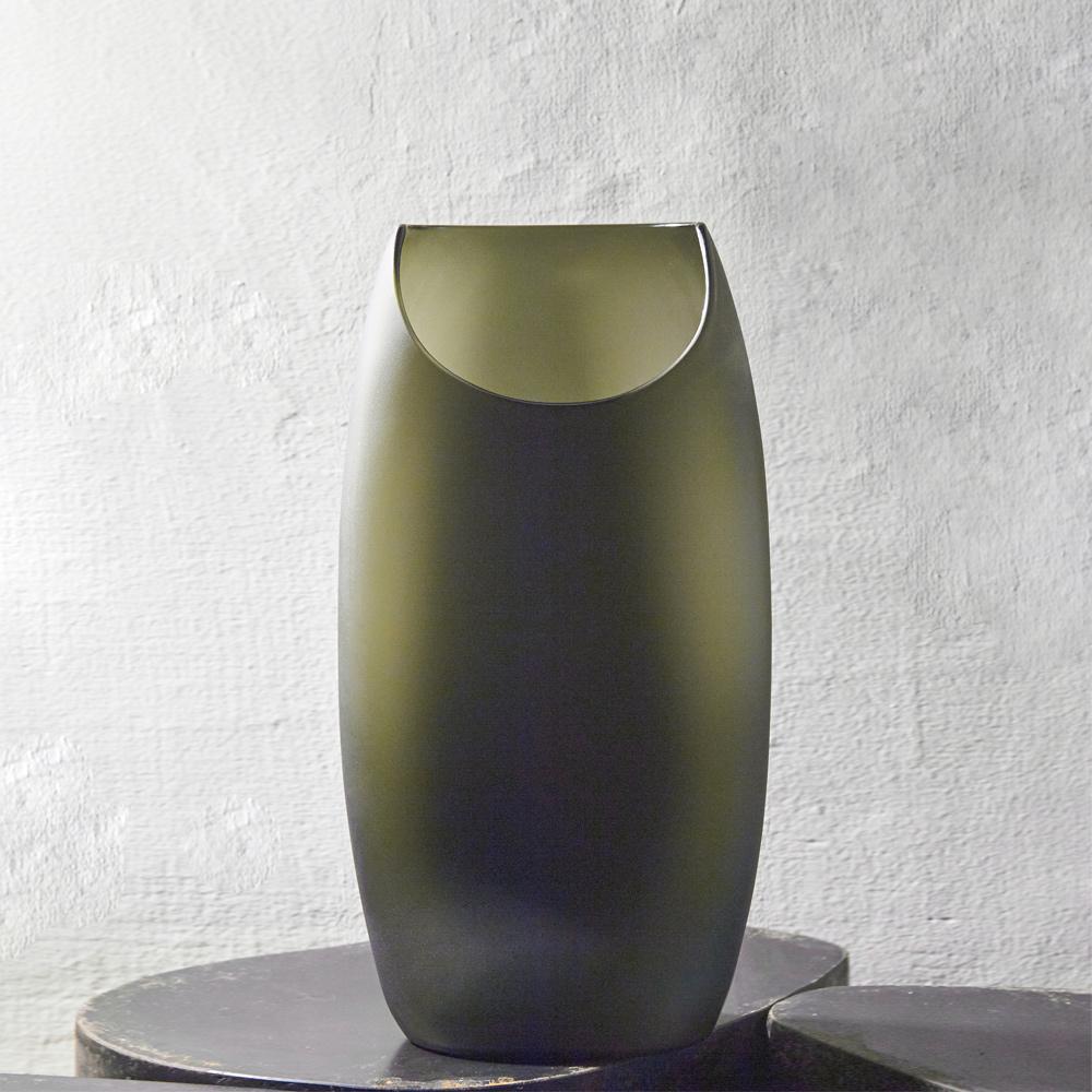 3,co|玻璃月型口扁平花器(9號) - 綠