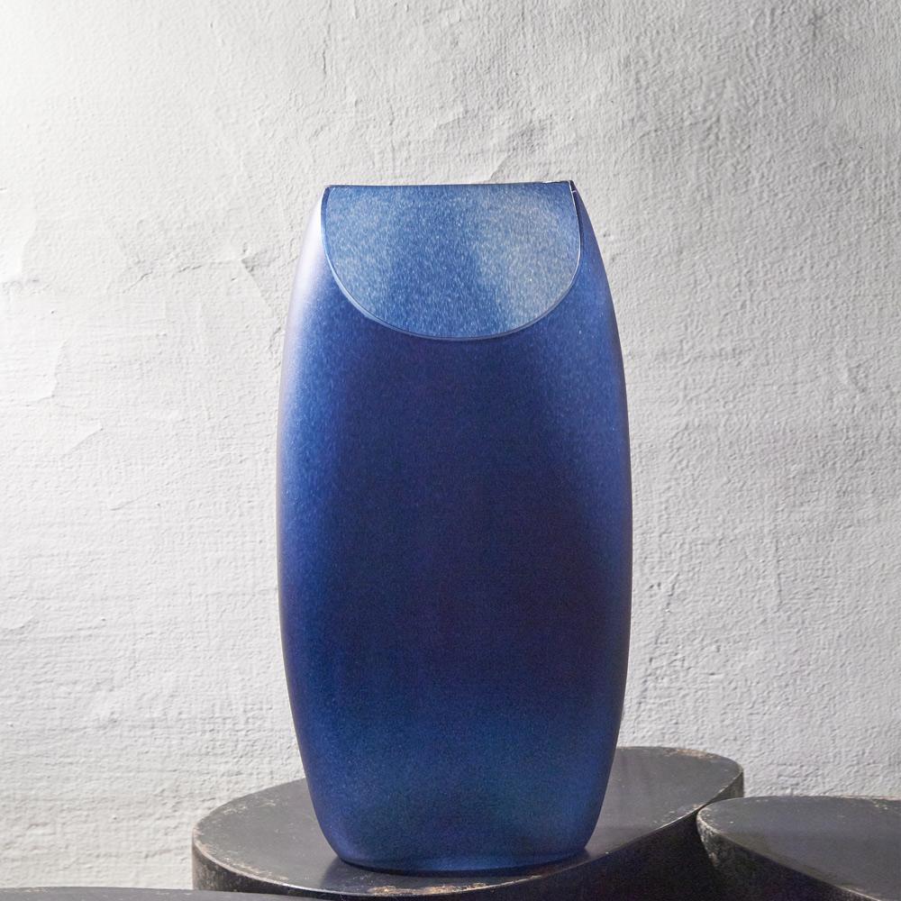 3,co|玻璃月型口扁平花器(9號) - 藍