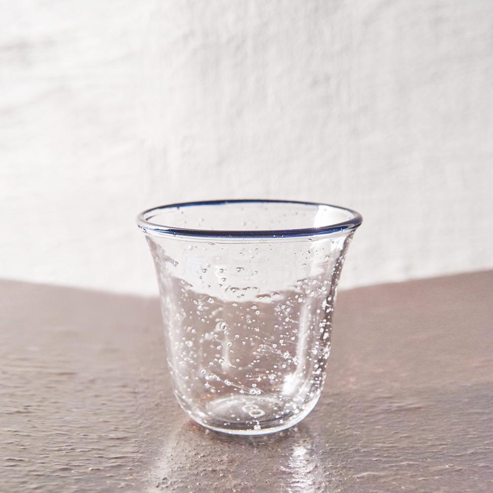 3,co|手工氣泡感玻璃杯(小) - 藍邊