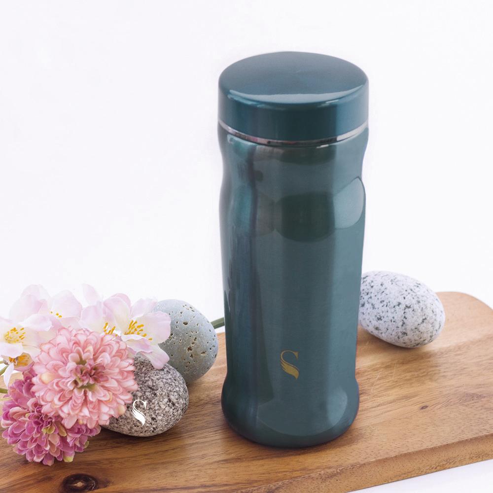 SWANZ 曲線陶瓷保溫杯(2色)- 300ml (日本專利/品質保證) - 藍色