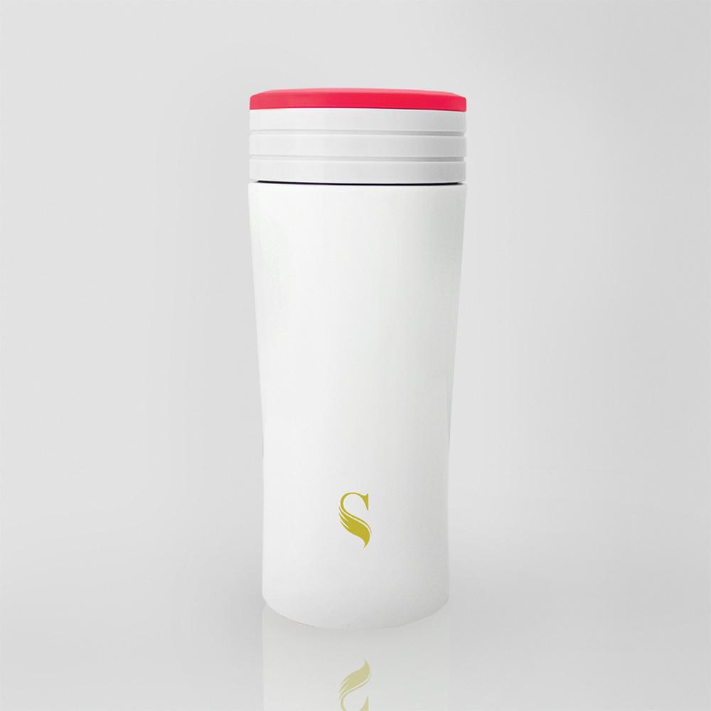 SWANZ|風格陶瓷保溫杯(2色)- 350ml (日本專利/品質保證) - 白底粉線