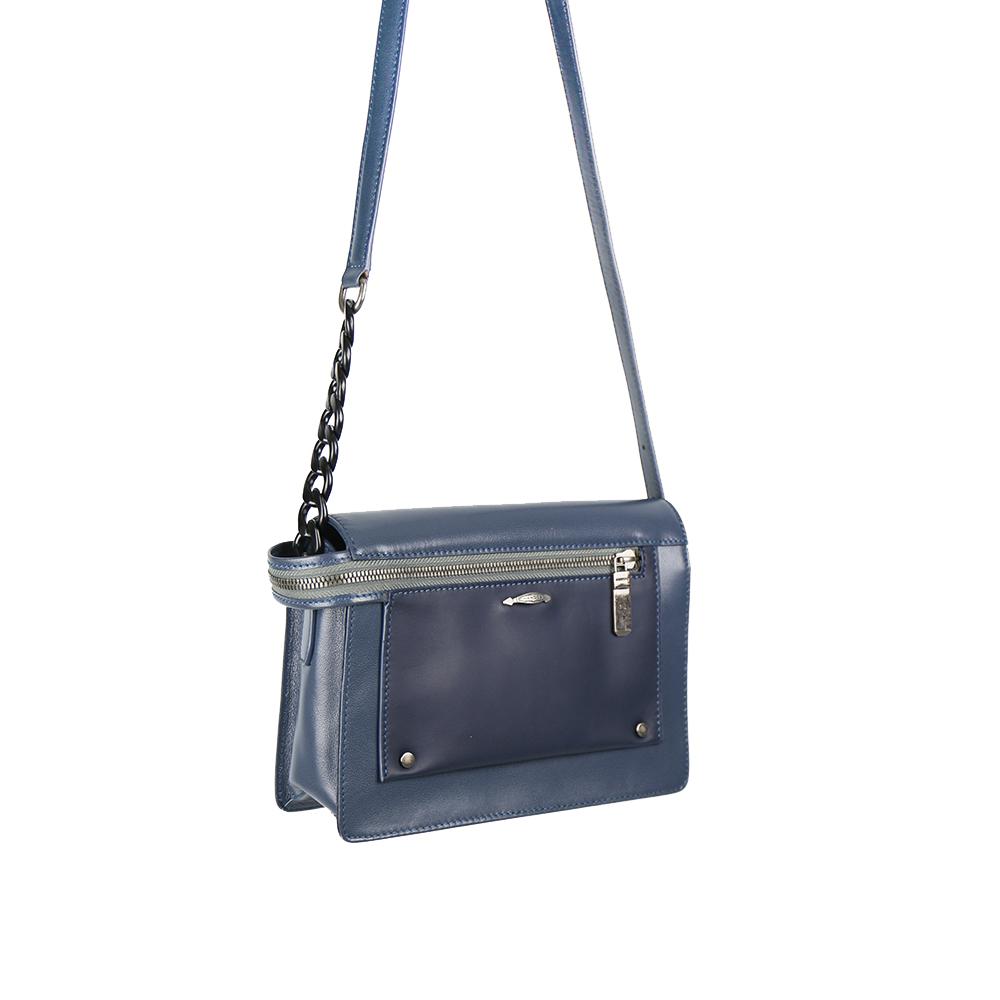 HANDOS|Pocket 串鍊真皮肩背包 - 海洋藍