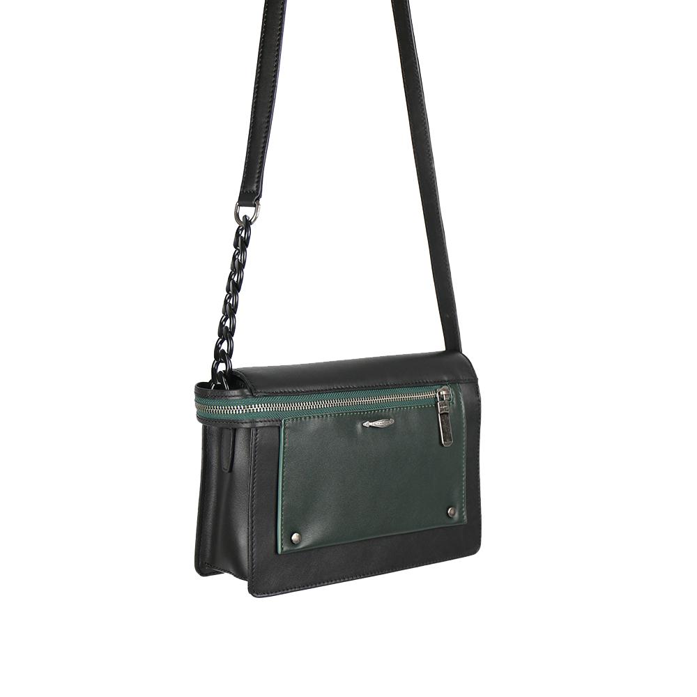 HANDOS Pocket 串鍊真皮肩背包 - 黑 x 綠