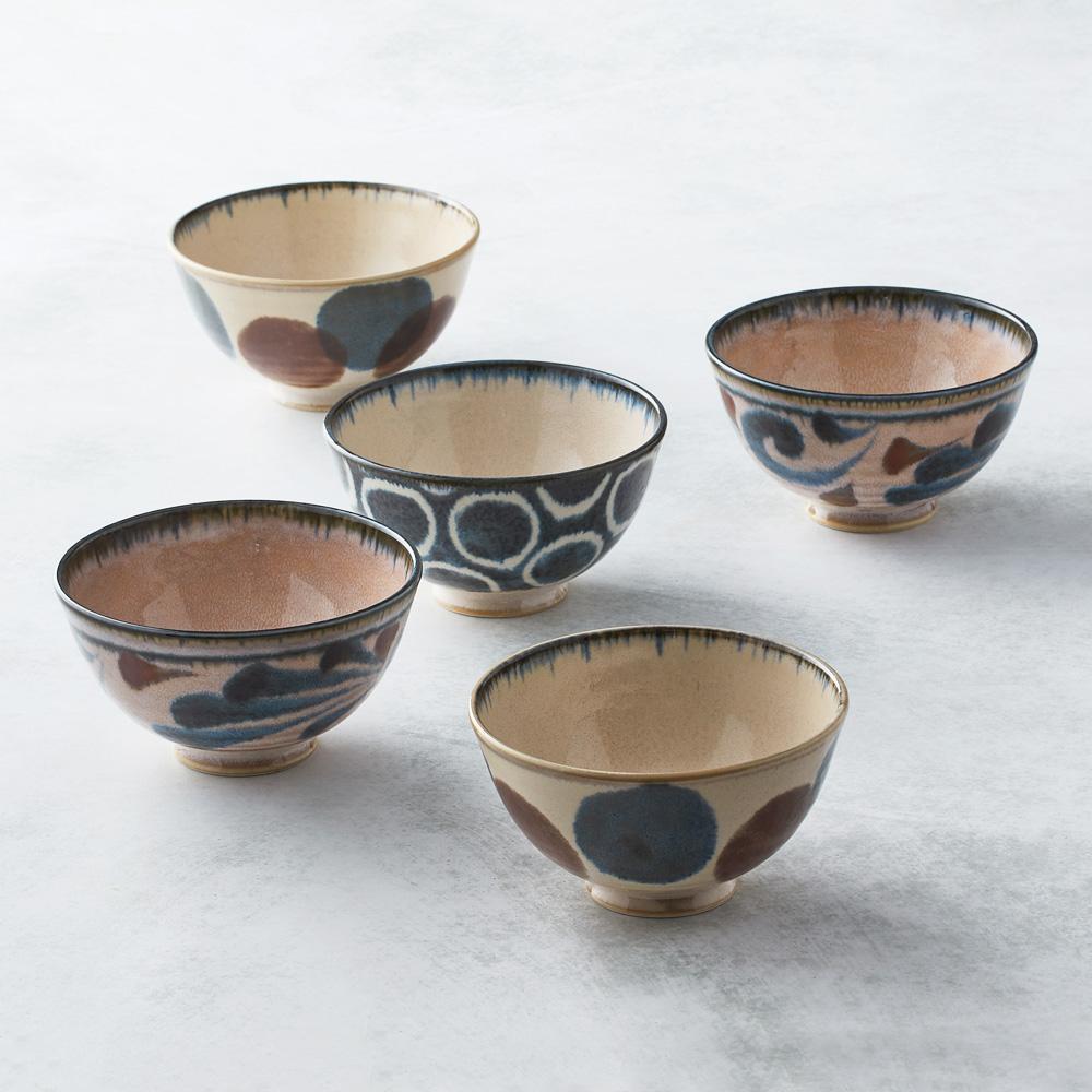 日本AWASAKA美濃燒|筆青釉繪飯碗組(5件式)