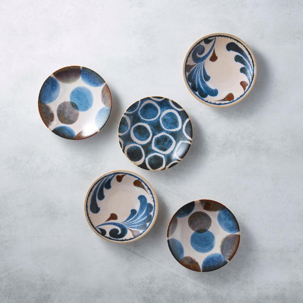 日本AWASAKA美濃燒|筆青釉繪小餐盤組(5件式)