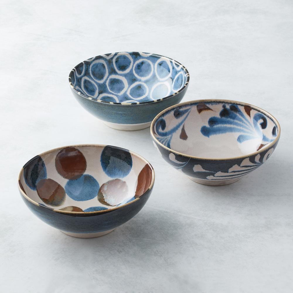 日本AWASAKA美濃燒|筆青釉繪大碗組(3件式)