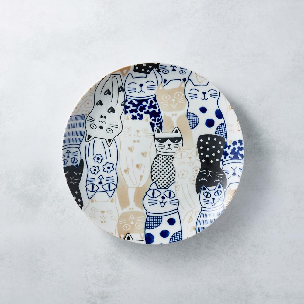 日本AWASAKA美濃燒 酷花貓餐盤 - 藍