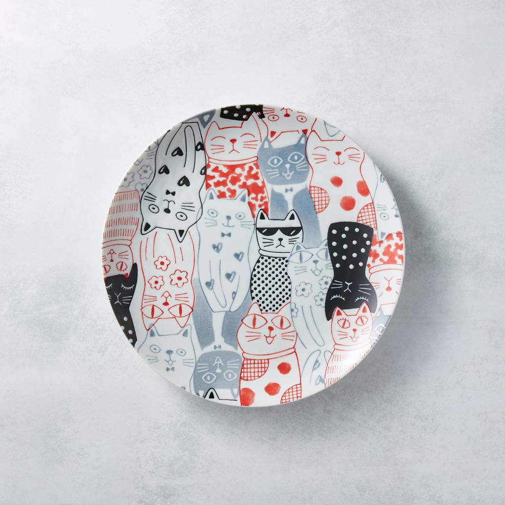 日本AWASAKA美濃燒|酷花貓餐盤 - 紅