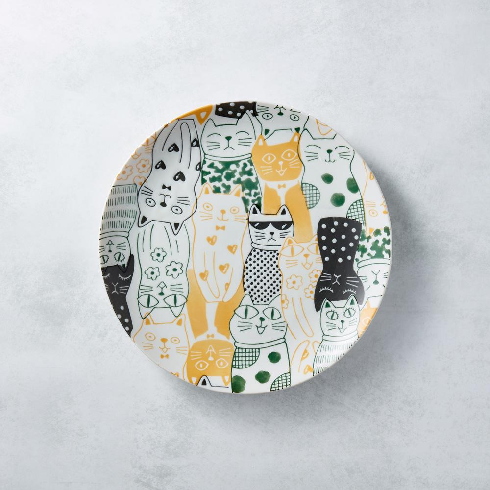 日本AWASAKA美濃燒|酷花貓餐盤 - 黃