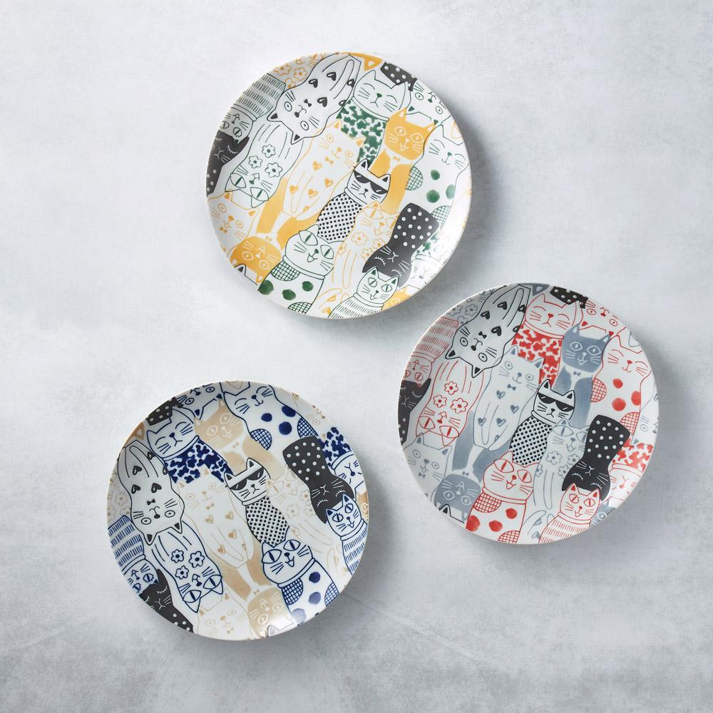 日本AWASAKA美濃燒|酷花貓餐盤 - 三件組