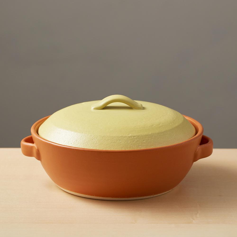 日本萬古燒|IH土鍋8號-粉綠X橘(2.2L)