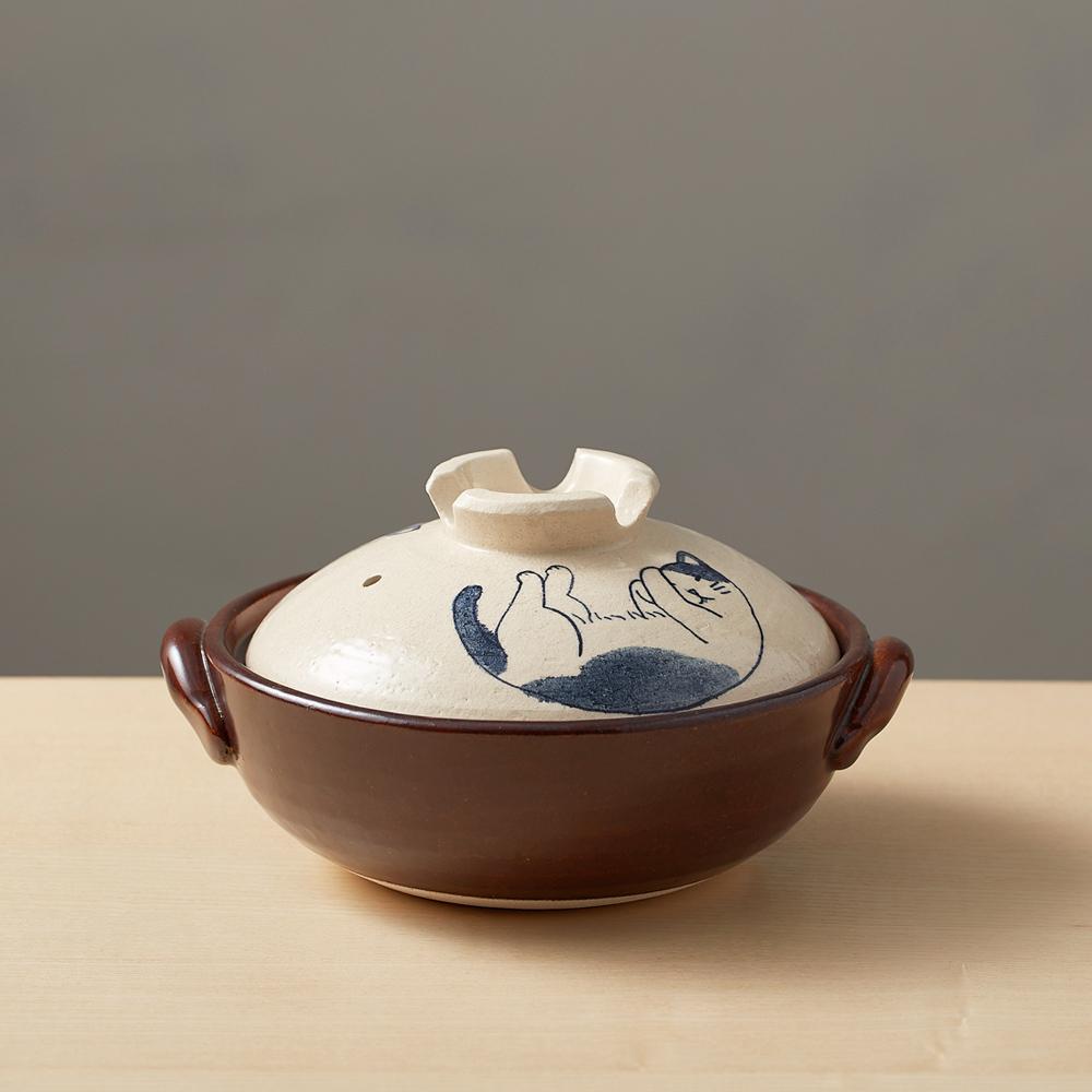 日本萬古燒|手繪土鍋6號-貓咪打呼(0.8L)