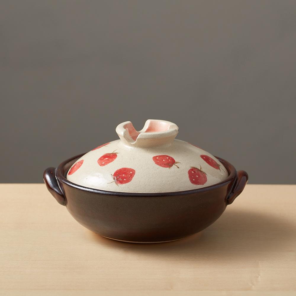 日本萬古燒|手繪土鍋6號-草莓樂園(0.8L)