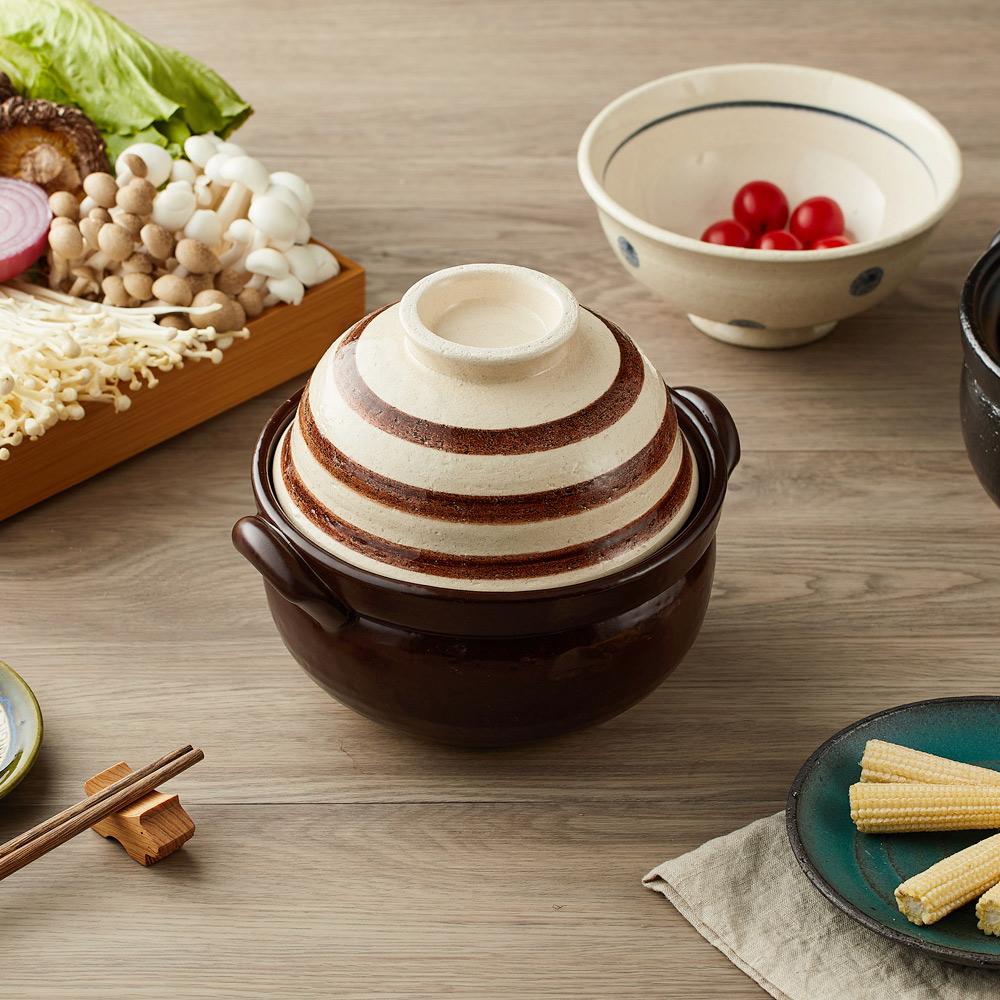 日本萬古燒|兩用蓋碗土鍋-咖啡條紋(1.1L)