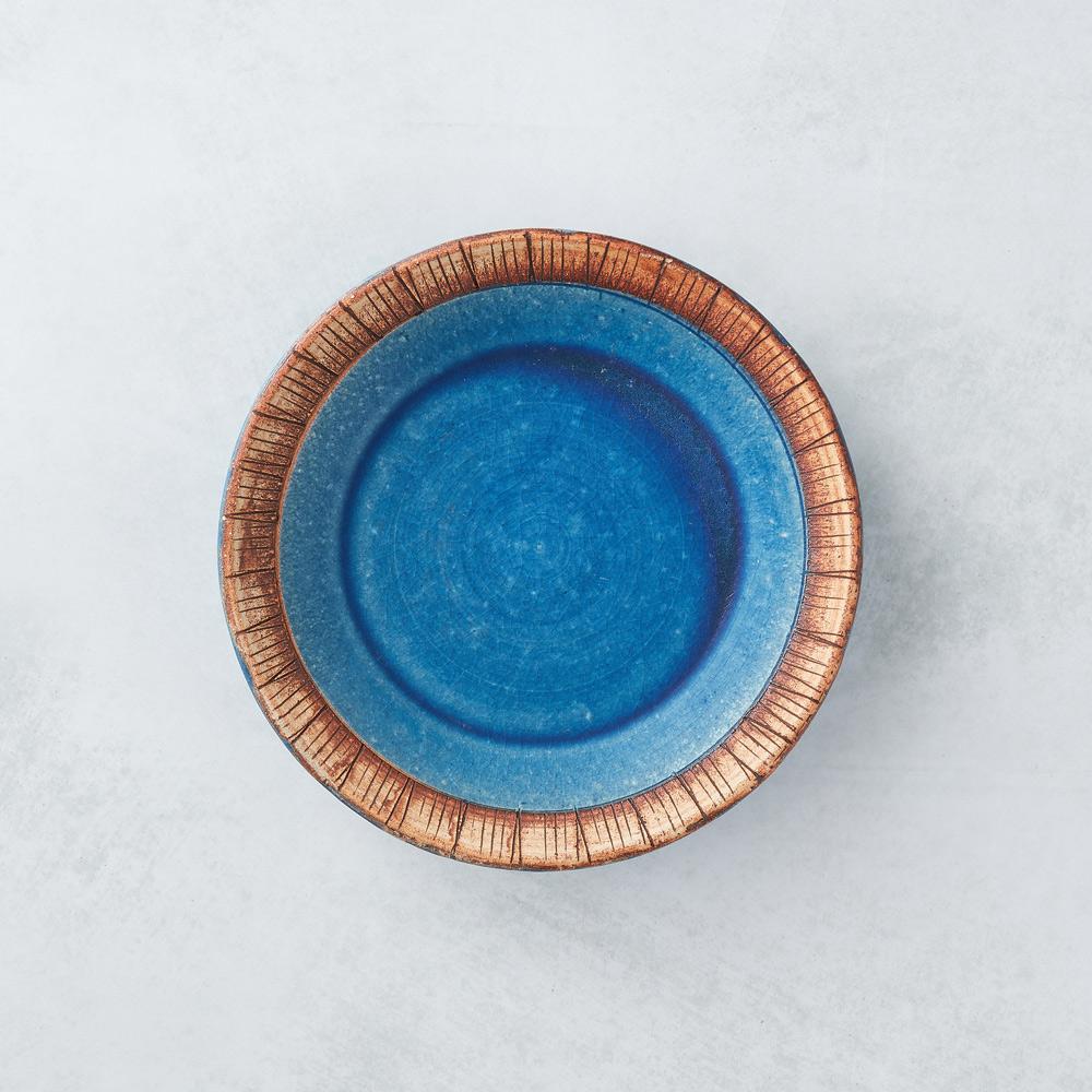 日本KOYO美濃燒 細雕紋小盤 - 琉璃藍