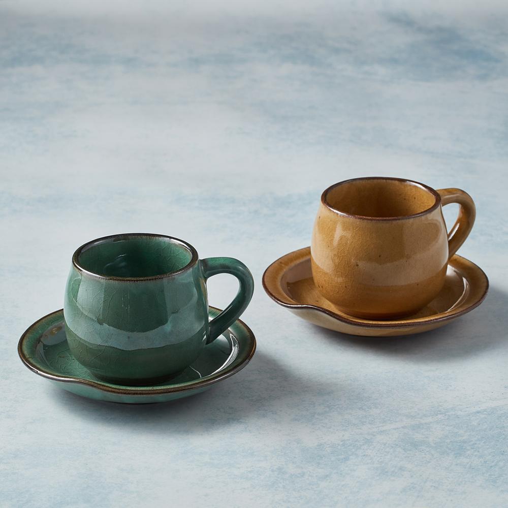 日本KOYO美濃燒 圓口咖啡杯碟 - 對杯組(4件式)