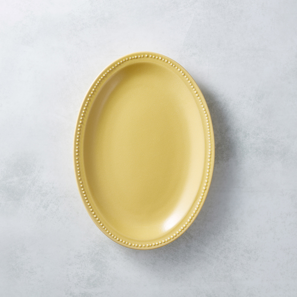 日本KOYO美濃燒|珍珠邊橢圓淺盤 - 赭黃